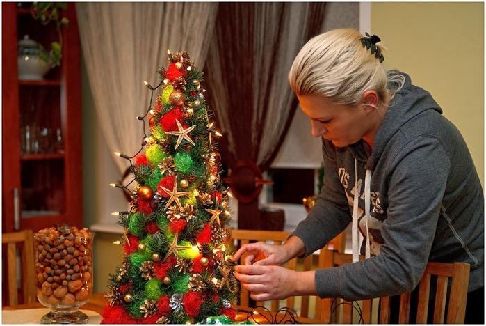 Новогодняя елка своими руками мастер класс из гофрированной бумаги