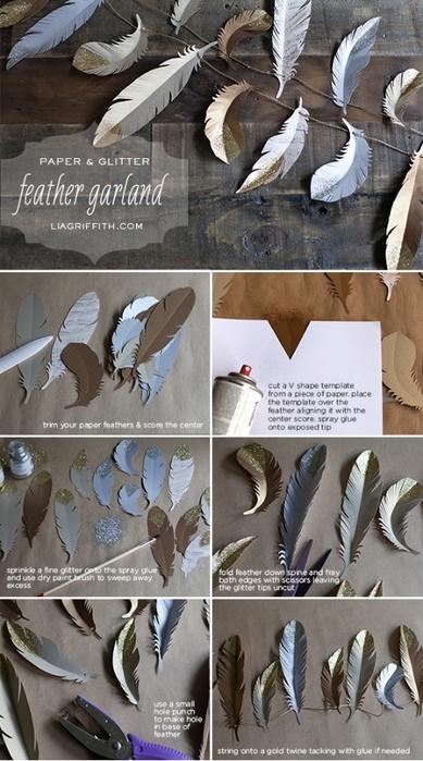 Перья из бумаги для детей