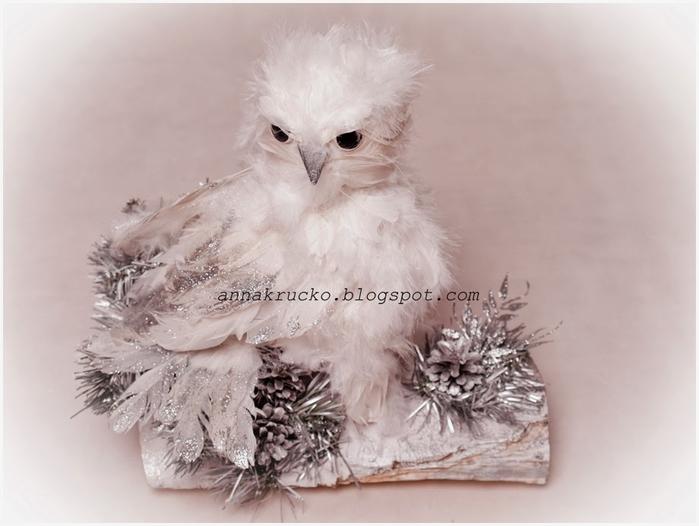 Белая совушка из перьев и папье маше (12) (700x526, 177Kb)