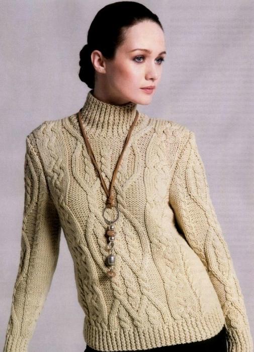 Водолазка – свитер спицами с