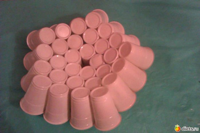 новогодний елочный шар из пластиковых стаканчиков