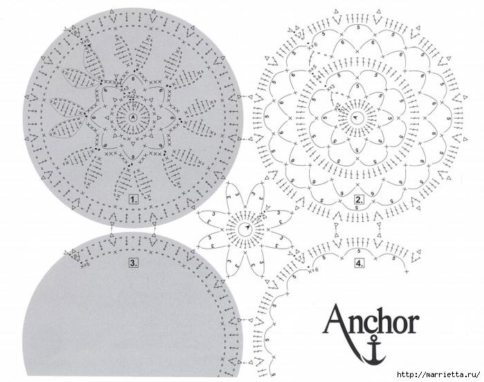 Crochet.  mantel de aire, cortinas y colchón (9) (700x553, 242Kb)