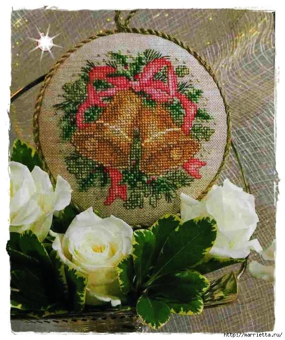 Схемы вышивки. Новогодняя и цветочная тематика (44) (585x700, 347Kb)