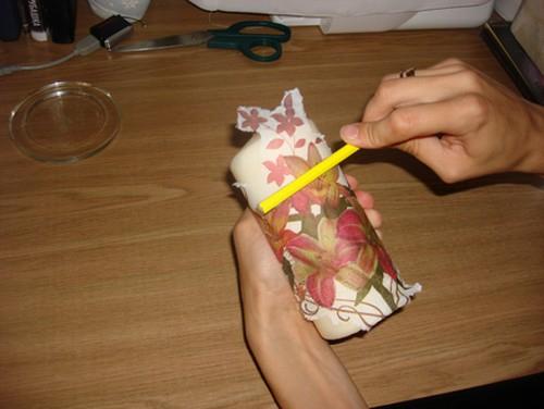 Свеча из салфеток своими руками