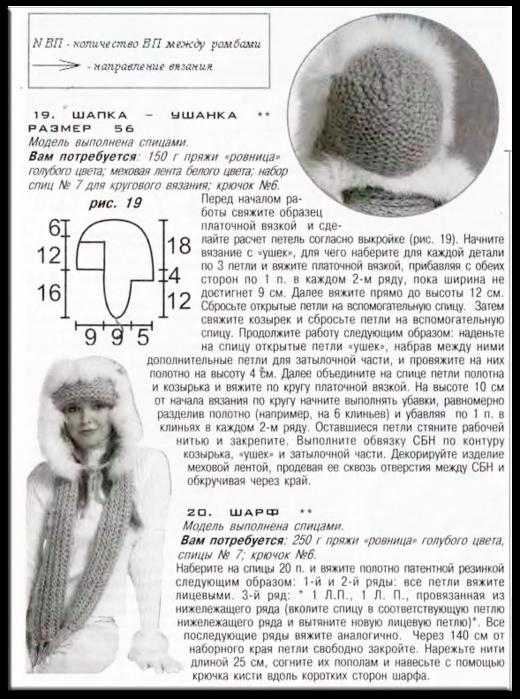 шапка - ушанка спицами (520x699, 588Kb)