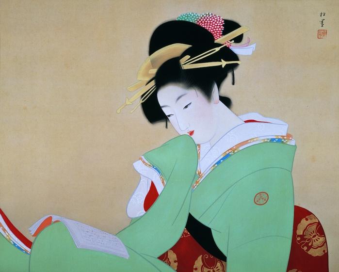 Уемура Shoen 1875 - 1949  Красавица,  читающая  книгу  1941 (700x561, 114Kb)