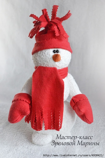 Снеговики из флиса своими руками фото