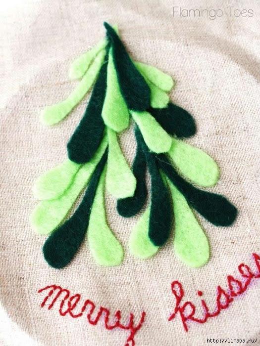 gluing-mistletoe-to-fabric (525x700, 322Kb)