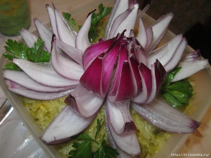 Украшение салатов фото из лукка