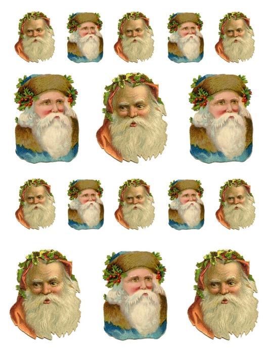 Елочные украшения - звезды с Санта Клаусом. Шаблоны для распечатки (1) (540x700, 239Kb)