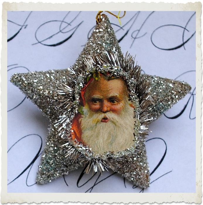 Елочные украшения - звезды с Санта Клаусом. Шаблоны для распечатки (3) (693x700, 356Kb)