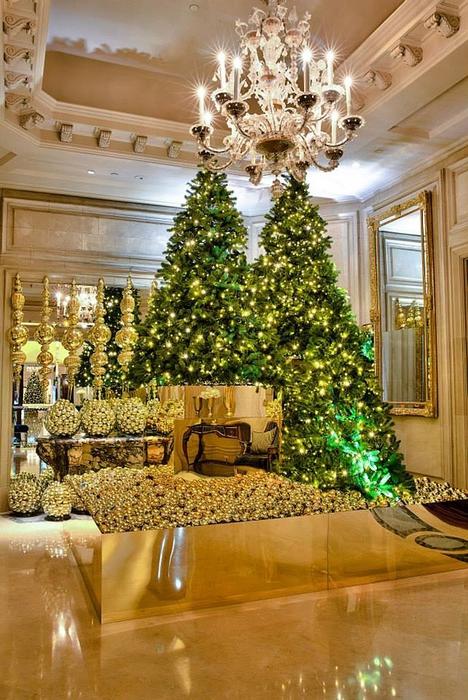 новогодний интерьер фото Four Seasons Hotel George V 2 (468x700, 310Kb)