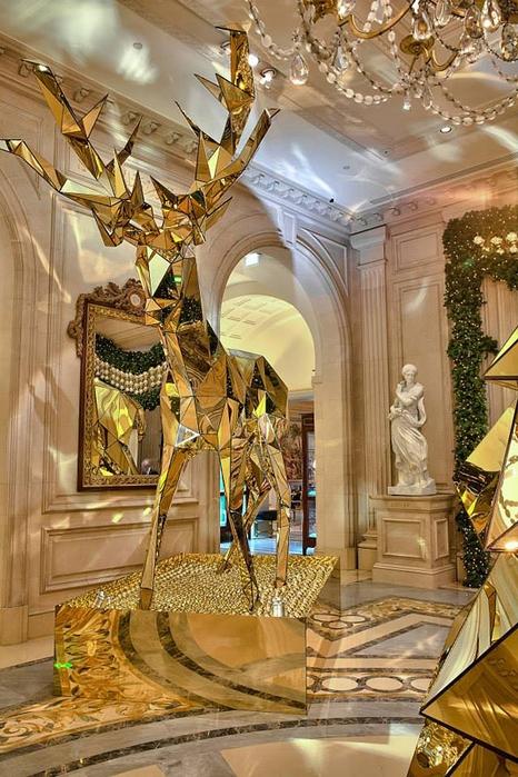 новогодний интерьер фото Four Seasons Hotel George V 3 (466x700, 306Kb)