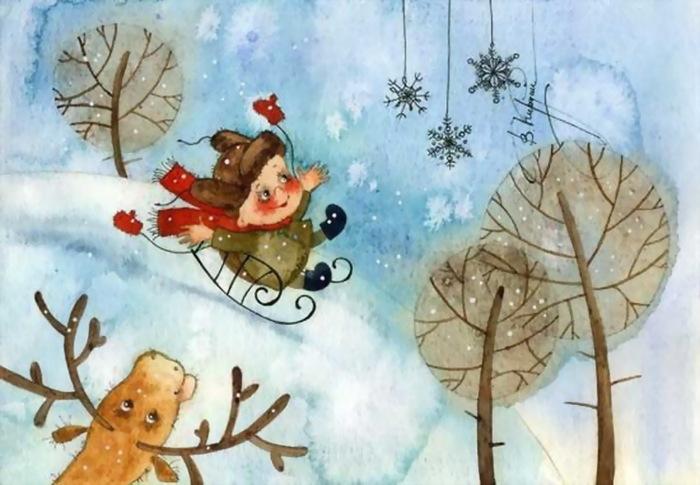Картинки зима художник иллюстратор новый год