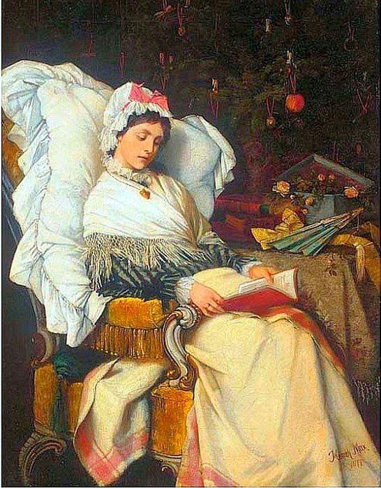 1Heinrich Max (Czech artist, 1847-1900)  A Christmas Read 1877 (2) (546x700, 105Kb)
