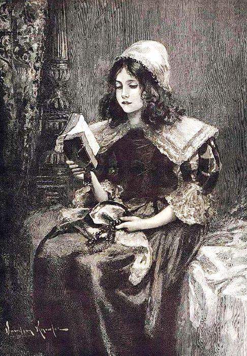 1Davidson Knowles (1852 - 1901, English)christmas-morning-reading-bible (486x700, 131Kb)