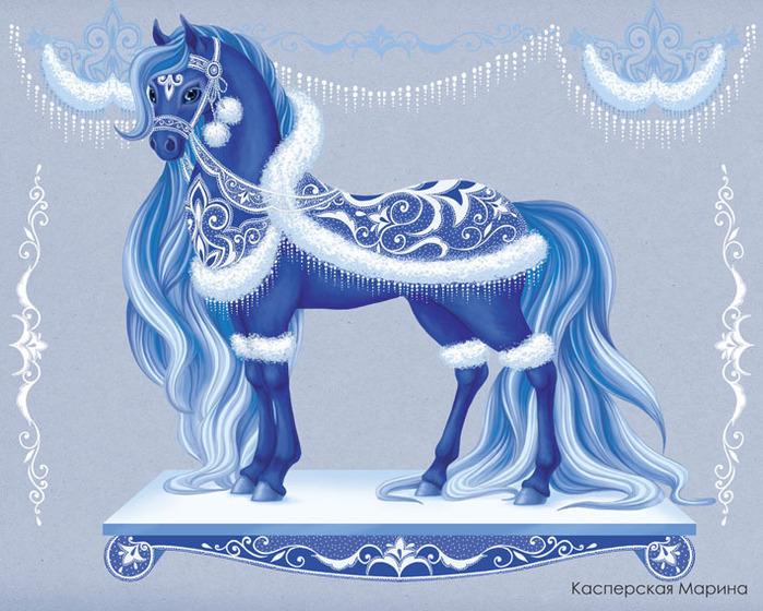 Лошадь рисунок к новому году