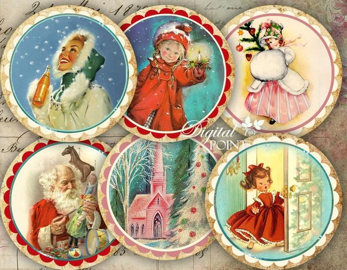 Винтажные картинки и идеи для создания подвесок, тэгов и рождественских гирлянд (7) (700x545, 378Kb)