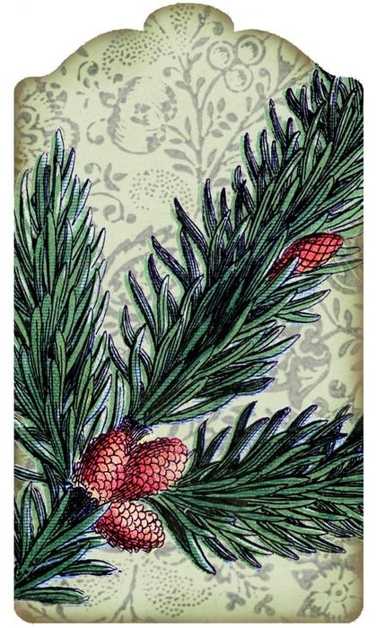 Винтажные картинки и идеи для создания подвесок, тэгов и рождественских гирлянд (19) (419x700, 276Kb)