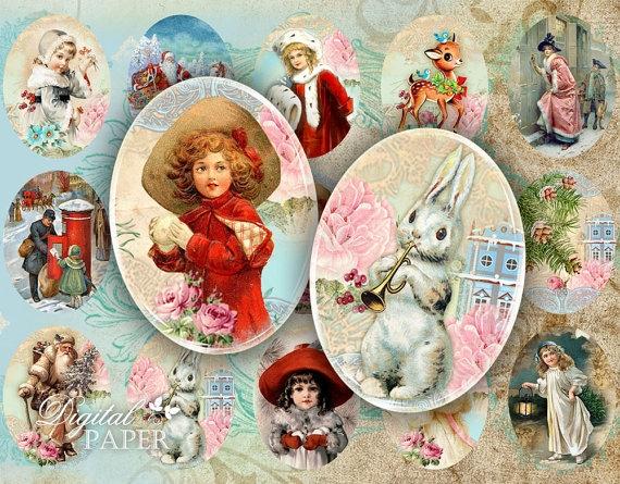Винтажные картинки и идеи для создания подвесок, тэгов и рождественских гирлянд (23) (570x445, 274Kb)