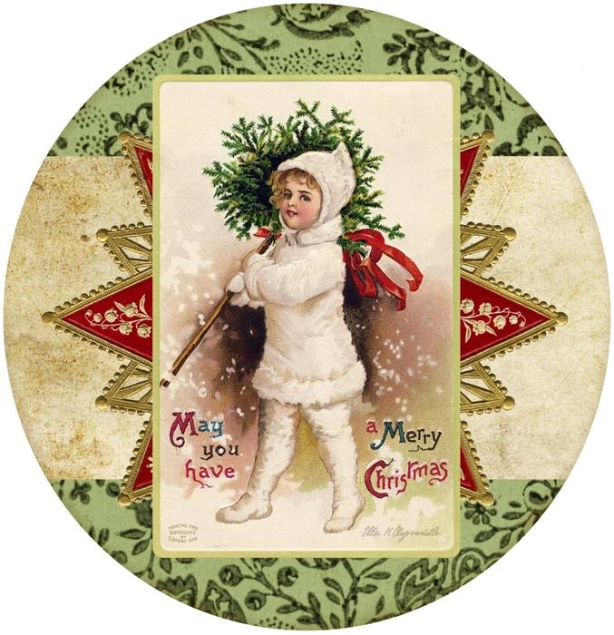 Винтажные картинки и идеи для создания подвесок, тэгов и рождественских гирлянд (34) (677x700, 348Kb)