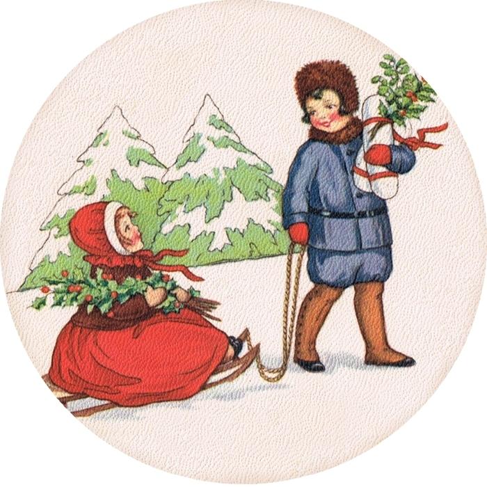 Винтажные картинки и идеи для создания подвесок, тэгов и рождественских гирлянд (47) (700x700, 362Kb)