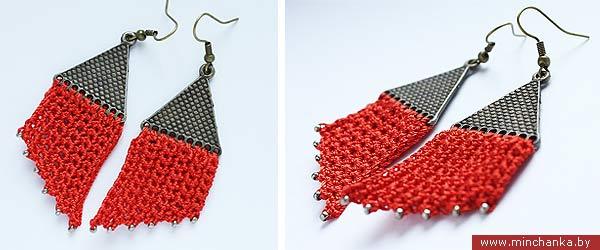 Красные вязаные сережки на