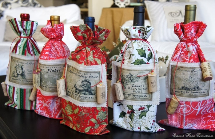 рождественское украшение винных бутылок (13) (700x454, 280Kb)