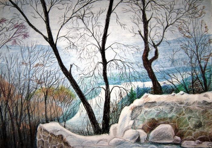 Первый снег (пастель) Сорокина Т.А большой (700x490, 294Kb)