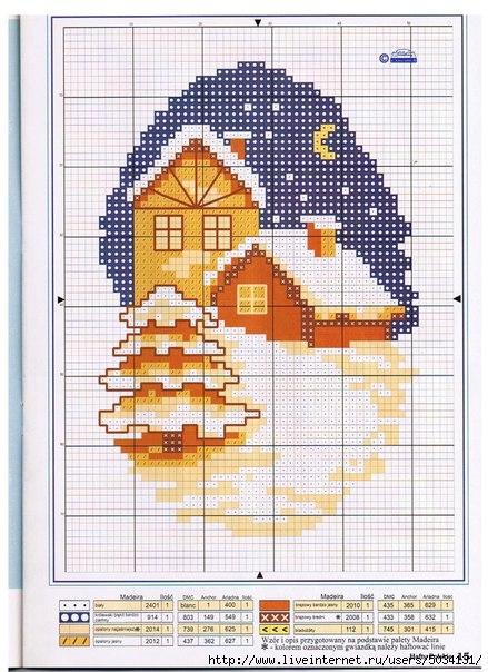 Вышивка схема зимние домики