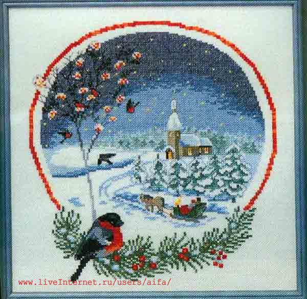 Вышивка крестом, схемы Зима,