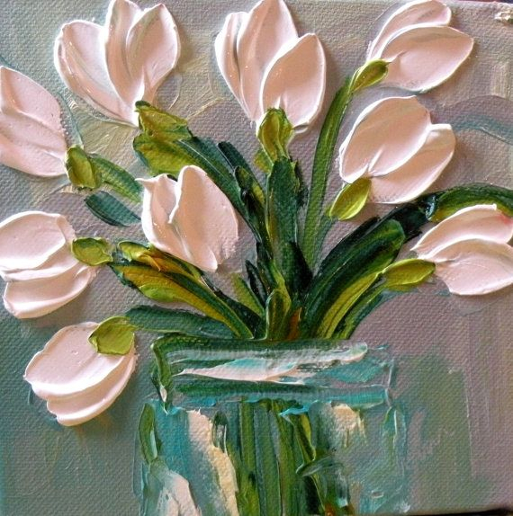 White Tulip Oil Painting, Impasto Technique by Jan Ironside (570x574, 323Kb)