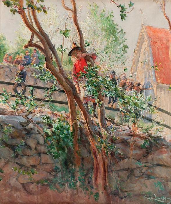 Parterre. Signerad Carl Larsson. Akvarell (588x700, 544Kb)