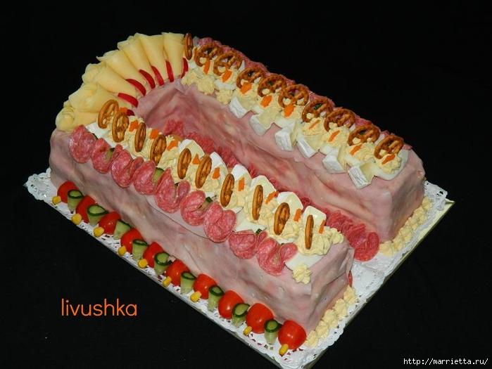 Соленый закусочный торт. Идеи оформления к ПАСХЕ (46) (700x525, 208Kb)
