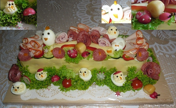 Соленый закусочный торт. Идеи оформления к ПАСХЕ (50) (700x431, 289Kb)