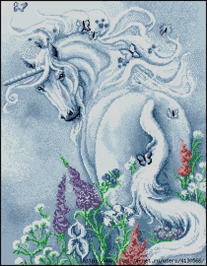 Единорог в цветах (420x540, 285Kb)
