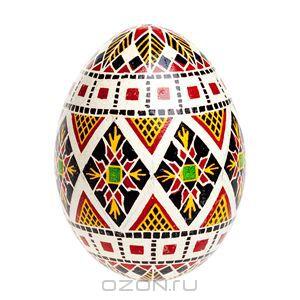Яйцо пасхальное в стиле писанка. Натуральное куриное яйцо полое внутри, ручная роспись, лак. Львов, Западная Украина. 2005 год -