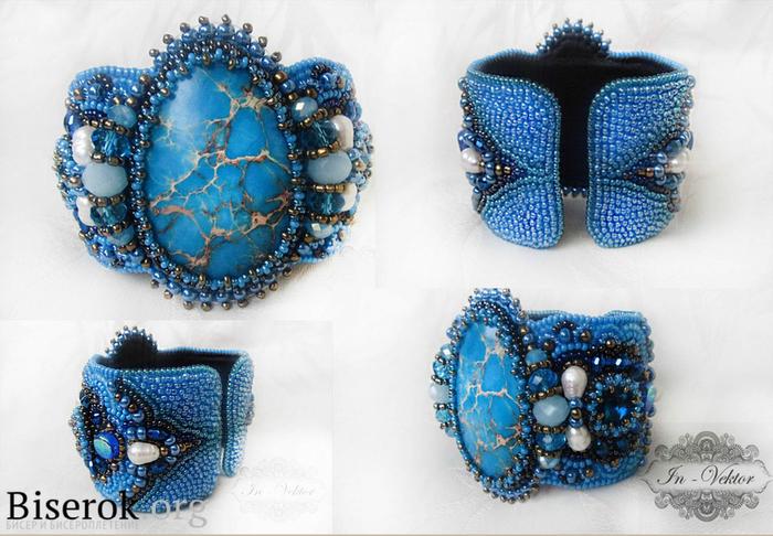 Украшения из бисера. Браслет с голубым варисцитом (5) (700x486, 379Kb)