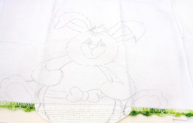 Роспись кухонного полотенца. Пасхальный кролик (3) (623x398, 401Kb)
