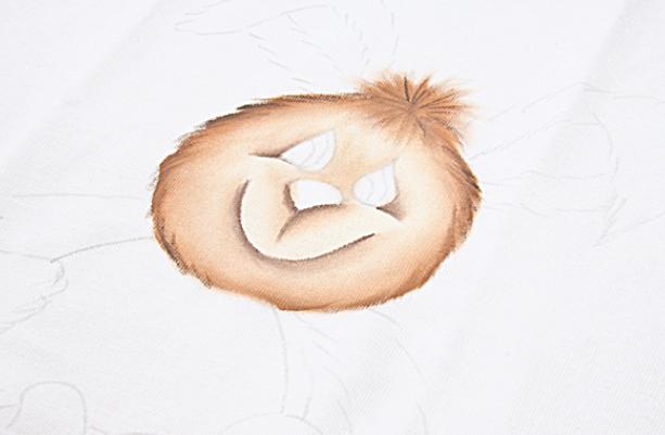 Роспись кухонного полотенца. Пасхальный кролик (5) (613x401, 407Kb)