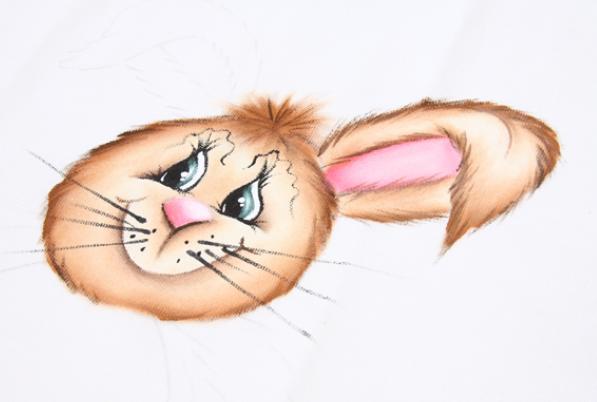Роспись кухонного полотенца. Пасхальный кролик (11) (597x402, 349Kb)