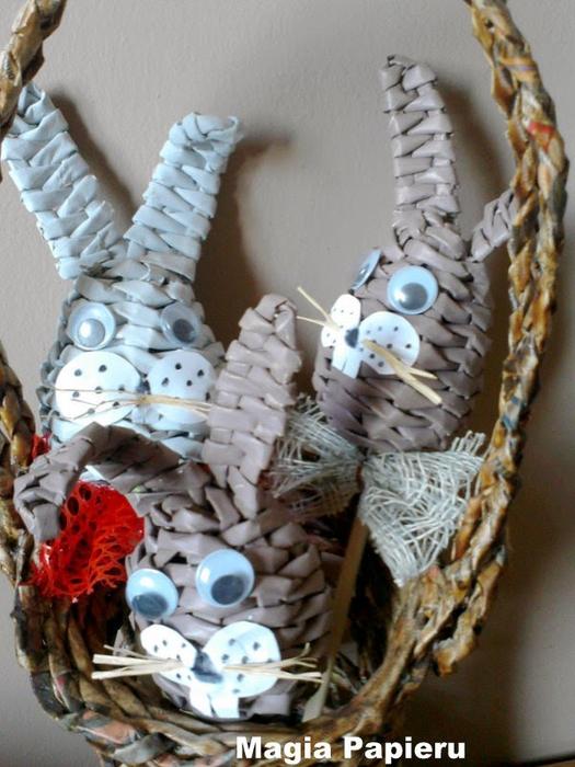 Плетение из газет. Зайцы-кролики на палочке (11) (525x700, 381Kb)