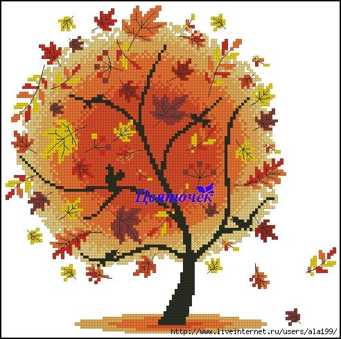 Осеннее дерево (492x488, 209Kb)