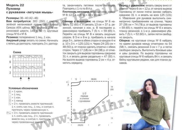 Схема для вязания спицами кофты летучая мышь