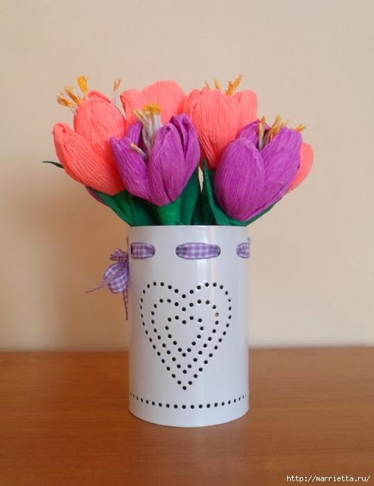 Цветы из гофрированной бумаги. КРОКУСЫ (5) (539x700, 162Kb)