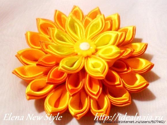 Многослойный цветок канзаши мастер класс фото