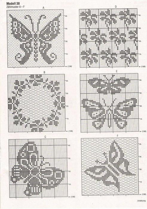 钩针网格 蝴蝶 很多的蝴蝶