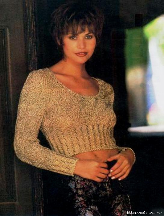 короткий вязаный пуловер (532x700, 246Kb)