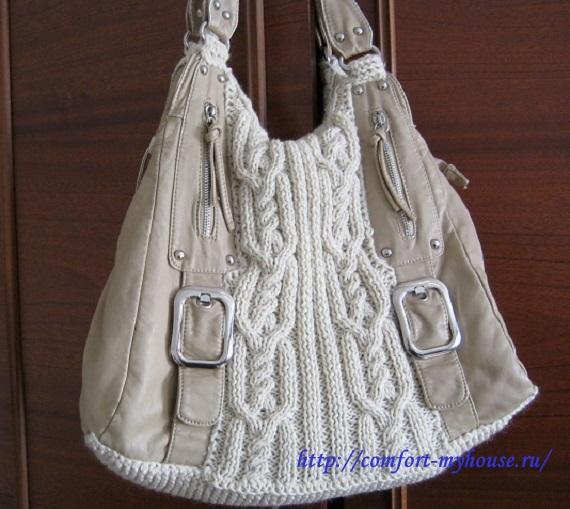 Вязанная спицами сумка своими руками