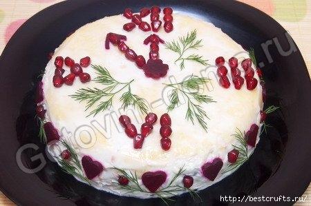 Новогодний салат «Часики»
